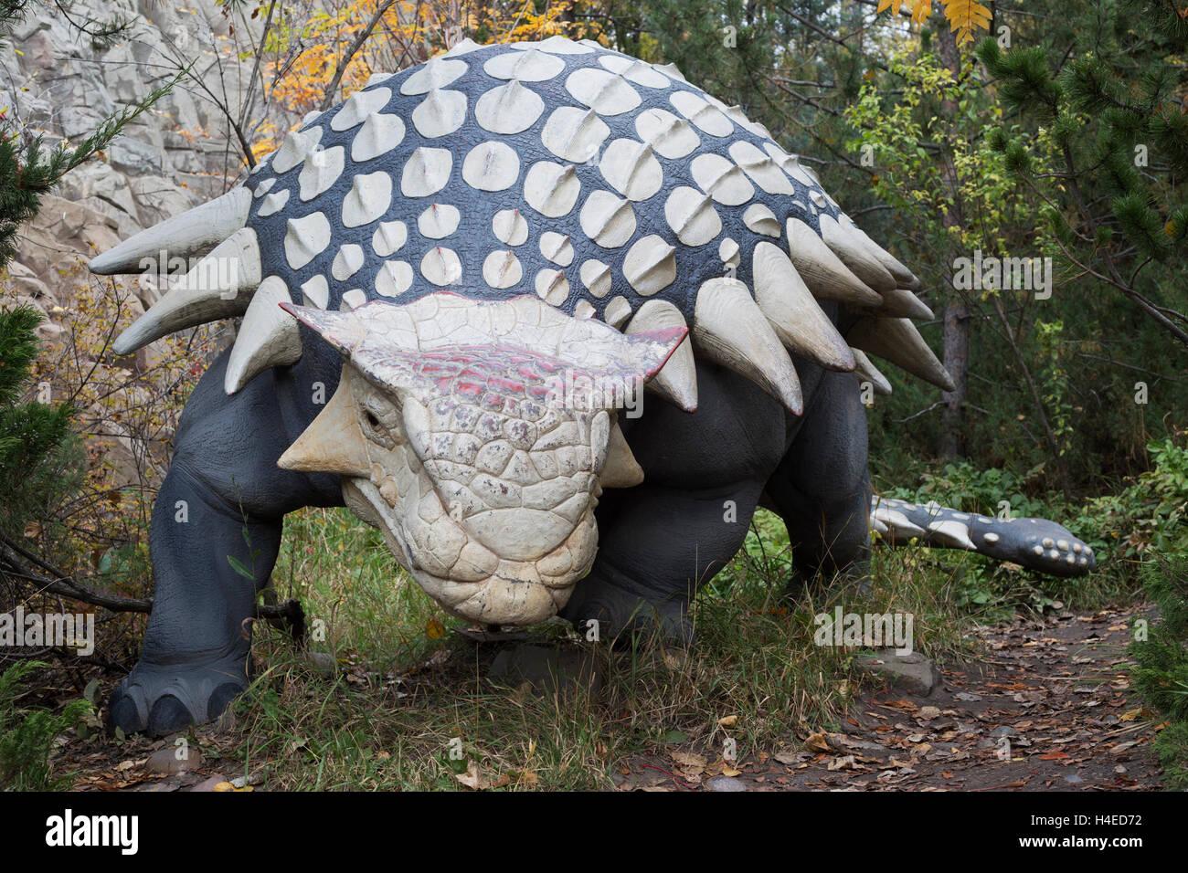 Anklyosaurus dinosaur model at the Calgary Zoo prehistoric park - Stock Image
