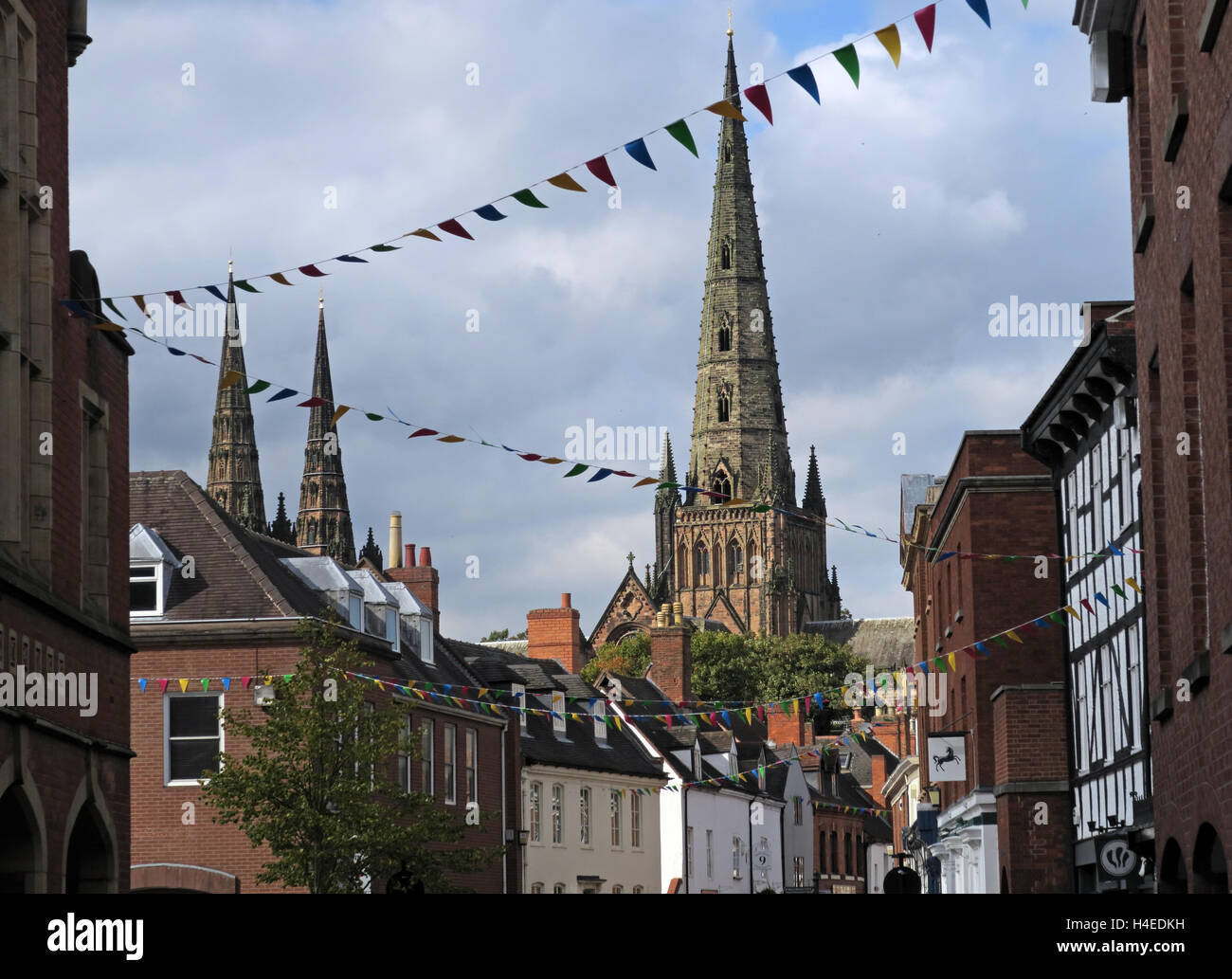 Lichfield city centre, with cathedral, Staffordshire, England, UK - Stock Image