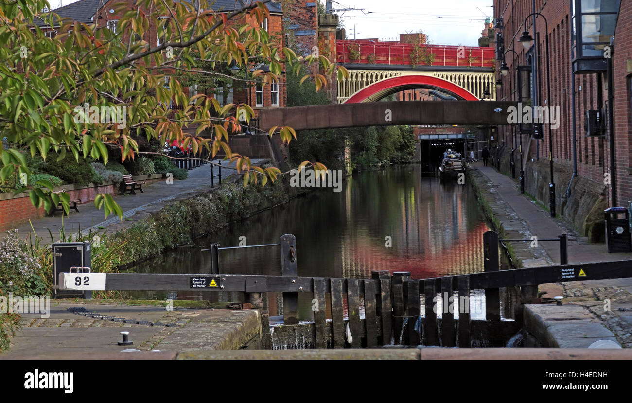 Lock92,Rochdale Canal,Castlefield,Manchester City Centre,Lancs,England,UK - Stock Image
