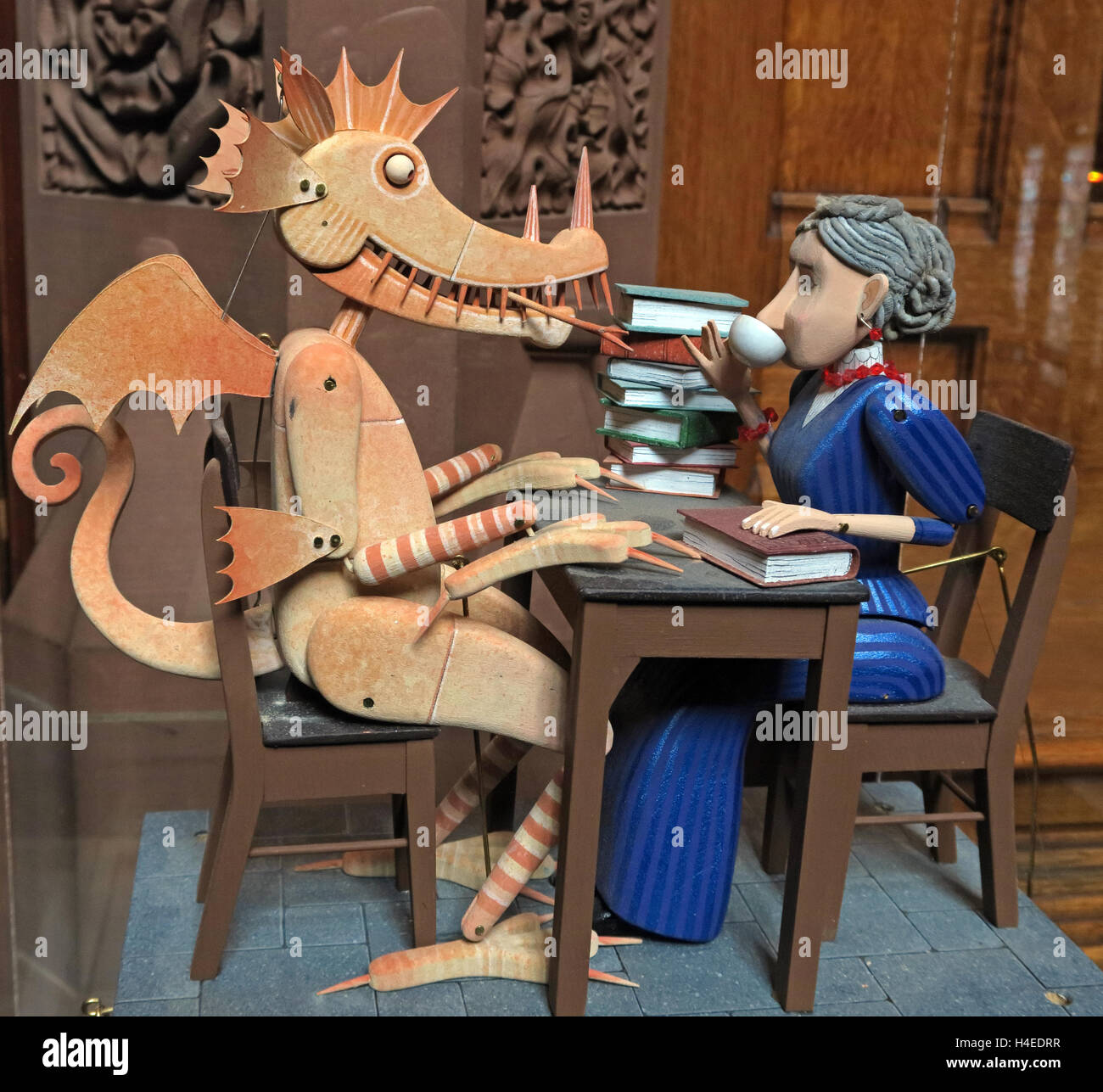 Keith Newstead Automata at John Rylands library,Manchester, Lancs, England, UK - Stock Image
