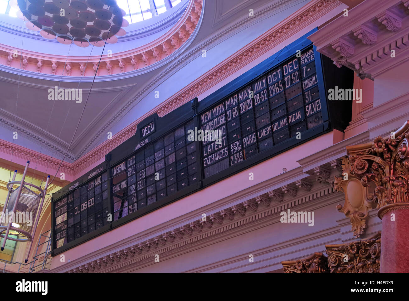 Royal Exchange Closing Prices, Royal Exchange Theatre,Manchester,England,UK - Stock Image