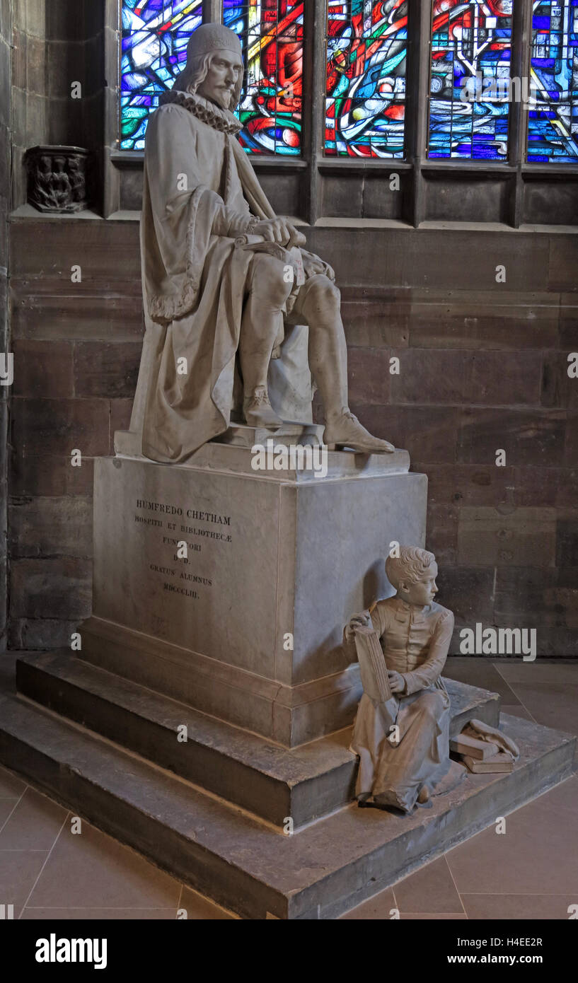 Sir Humphrey Chetham statue,Manchester Cathedral, England,UK - Stock Image