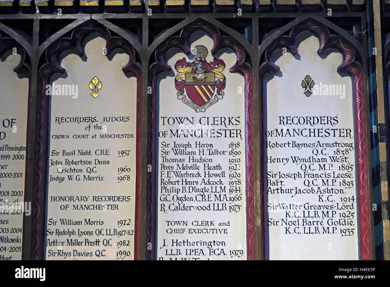 List of Salford Town clerks,Manchester Cathedral,Victoria St, Manchester M3 1SX - Stock Image