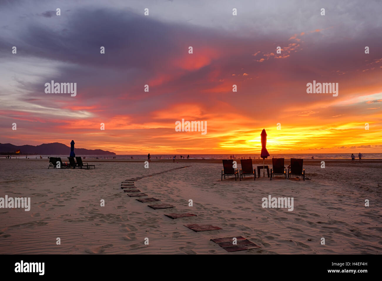 Sunset View on a Beach Facing South China Sea - Stock Image