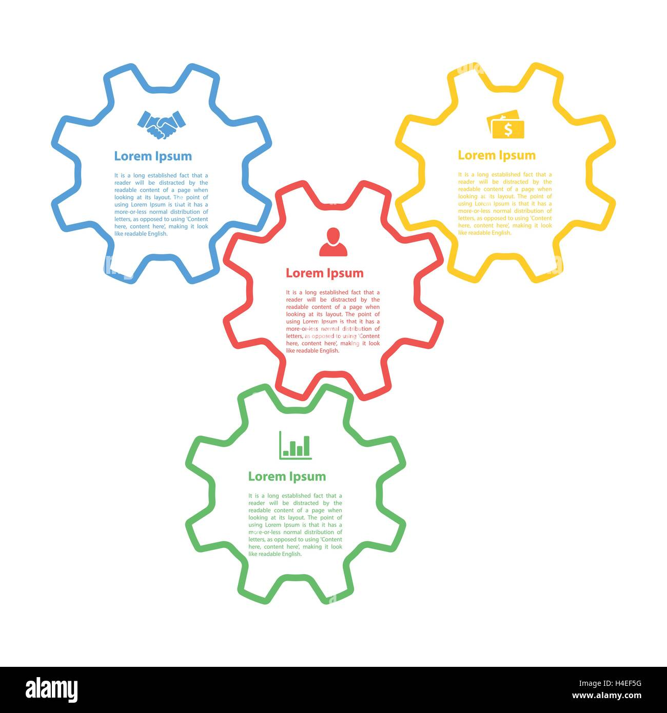 eps10 infographic concept four gears line style diagram process vector H4EF5G business concept gears business processes stock photos & business