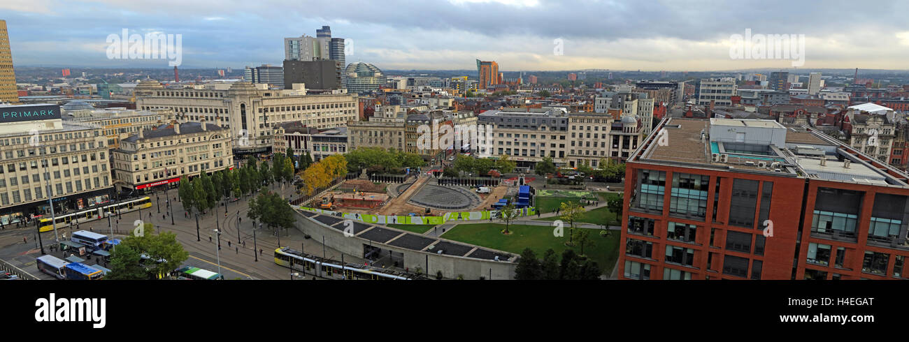 Manchester city centre panorama, looking north towards the Northern Quarter, Lancashire, England, UK - Stock Image