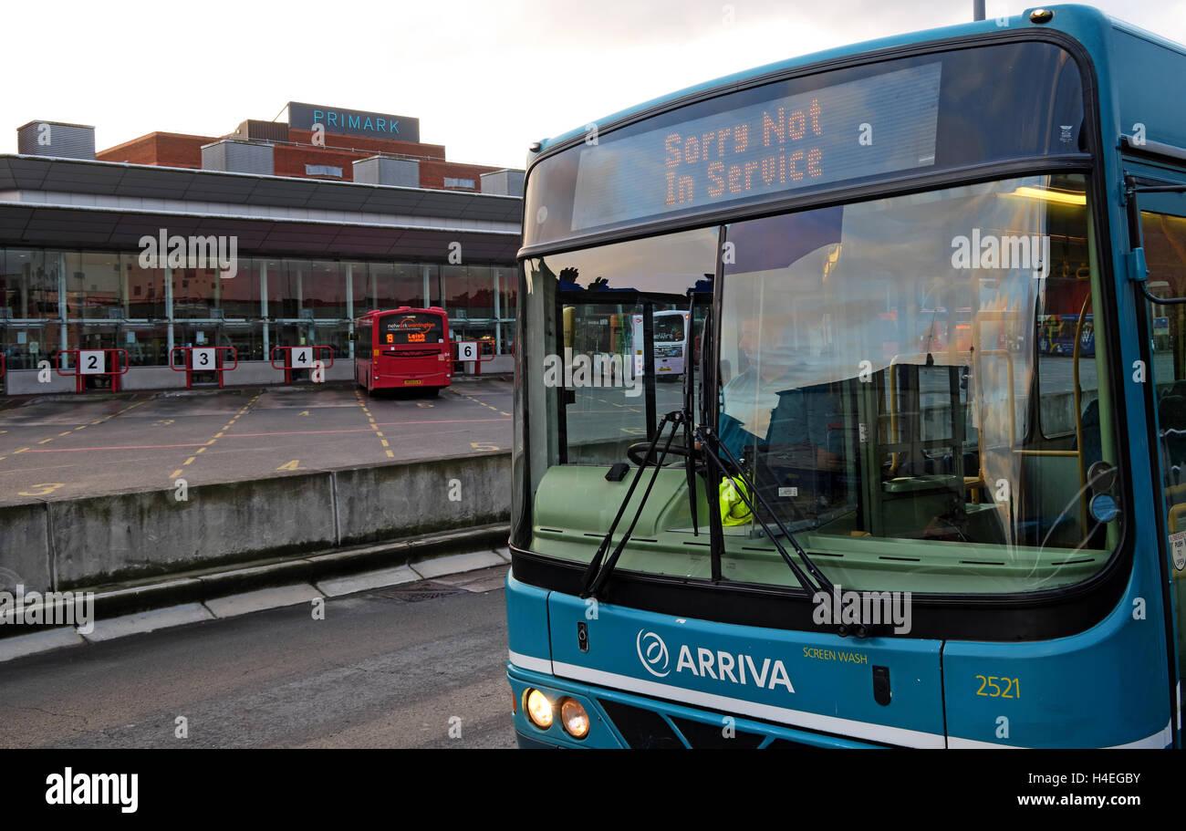 Arriva Bus at Warrington Interchange,Town Centre,WBC,Cheshire, England,UK - Stock Image