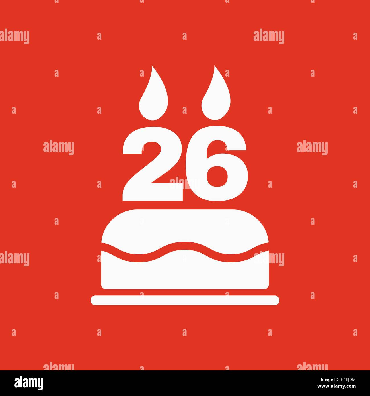 The Birthday Cake With Candles In The Form Of Number 26 Icon Stock