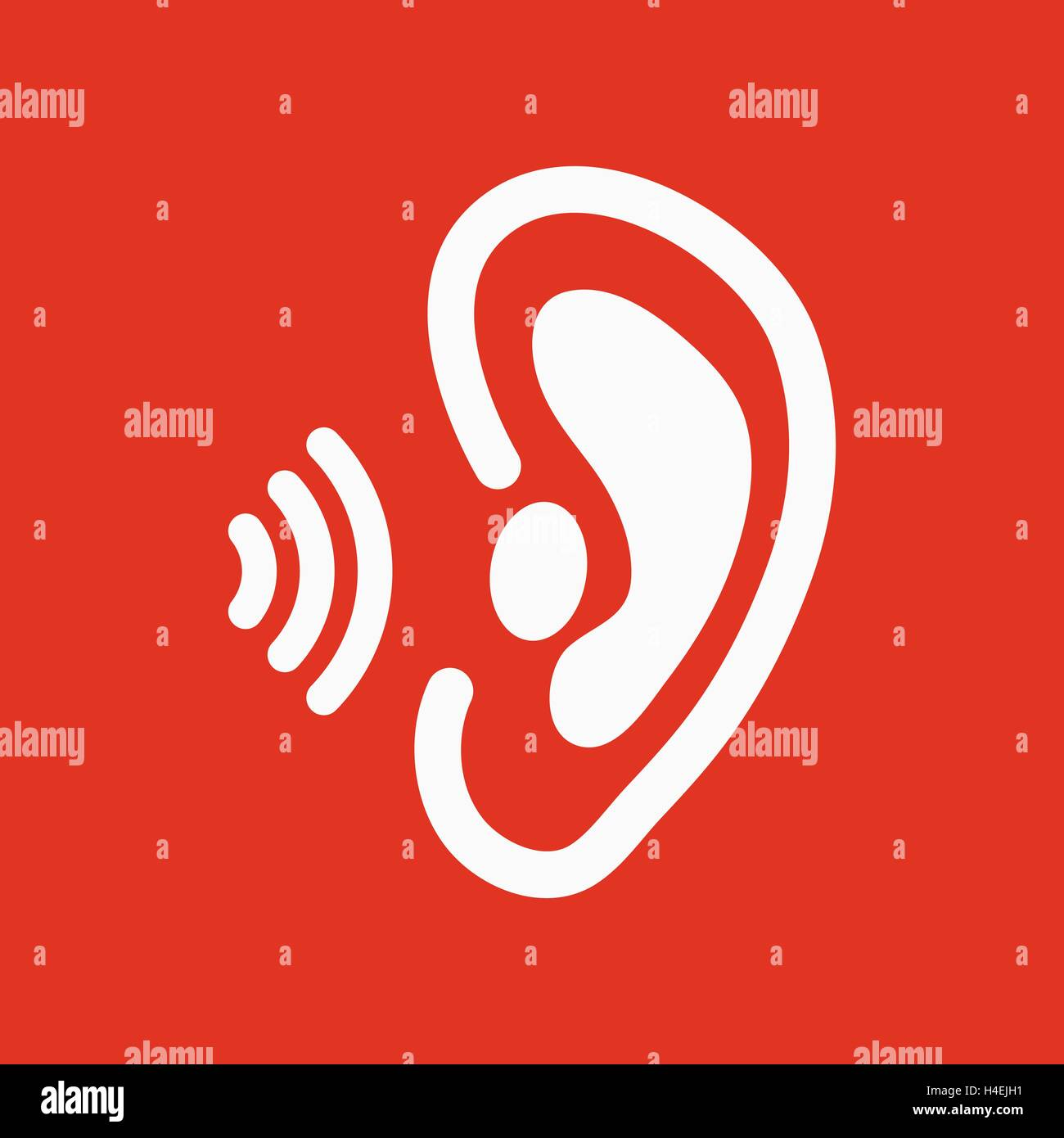 the ear icon sense organ and hear understand symbol flat stock