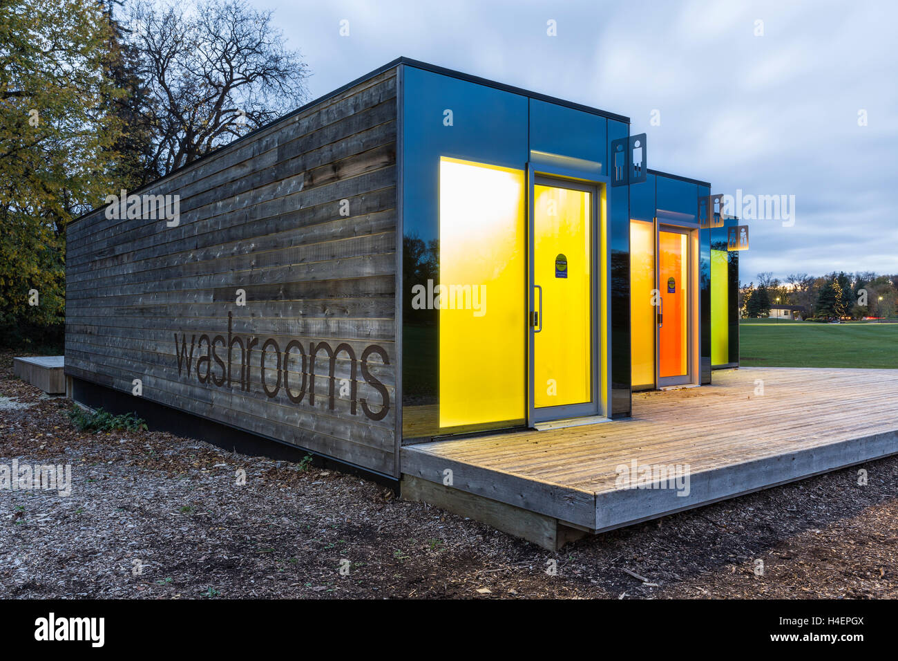 Shipping containers converted into washrooms, Assiniboine Park, Winnipeg, Manitoba, Canada. - Stock Image