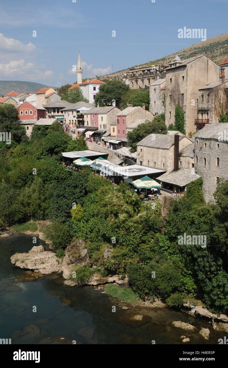 The view off the Stari Most bridge, Bosnia Herzegovina - Stock Image