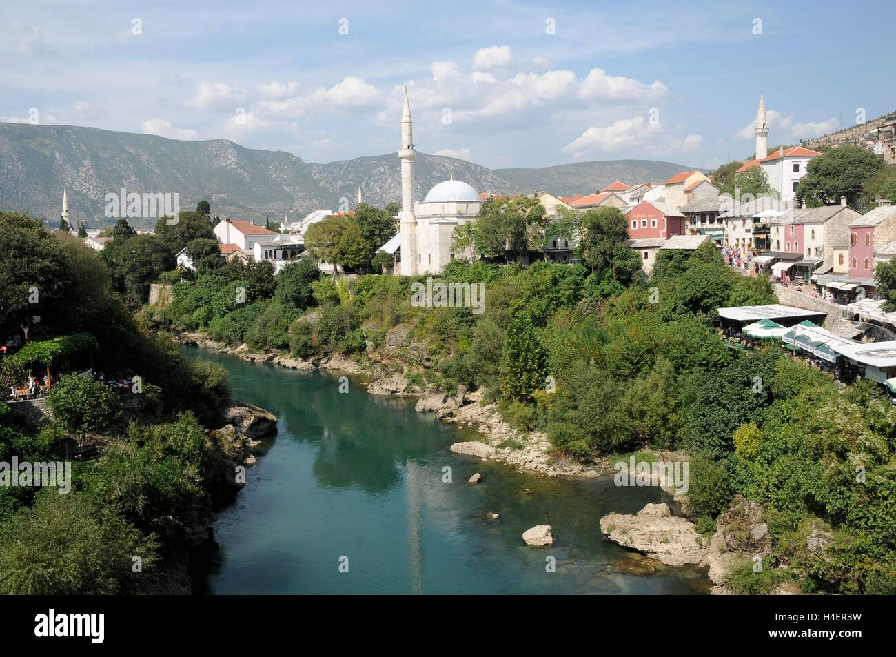 The view off the Stari Most bridge, Mostar, Bosnia Herzegovina - Stock Image