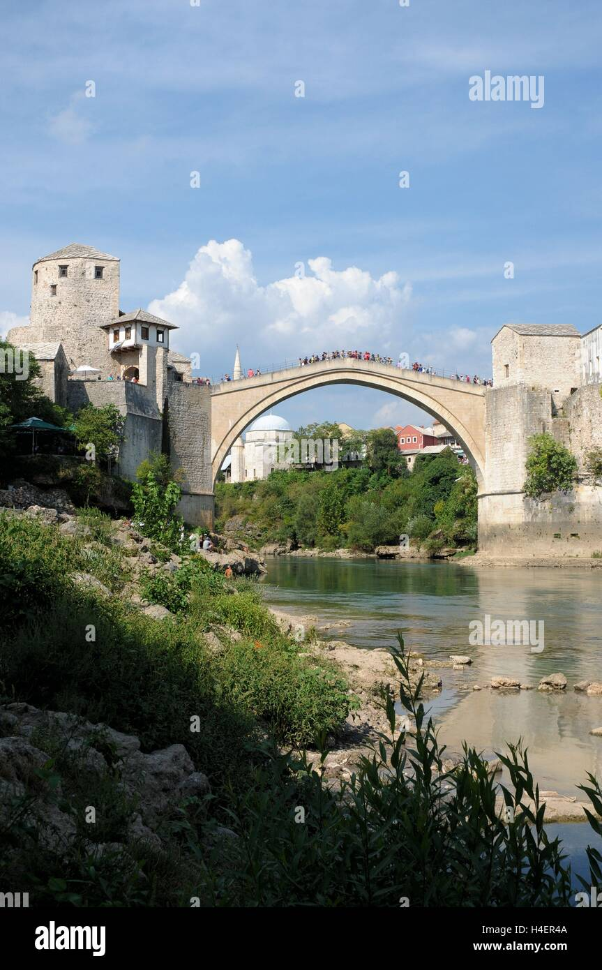 The Stari Most bridge, Mostar, Bosnia Herzegovina. - Stock Image