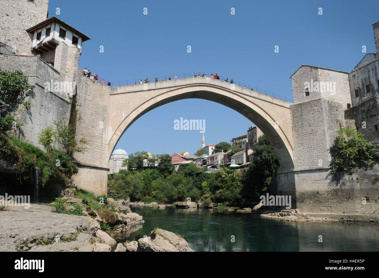 The Stari Most bridge in Mostar, Bosnia Herzegovina - Stock Image