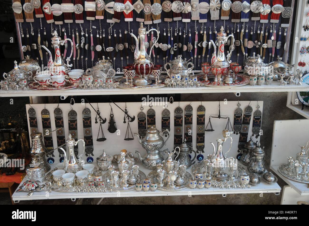 Silver gifts on sale in Mostar Bosnia Herzegovina - Stock Image