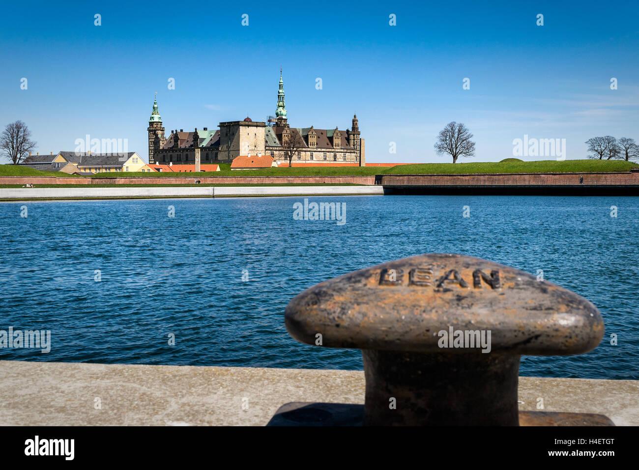 Kronborg Castle, residence of Hamlet, settled in a town Helsingor, north of Copenhagen, Denmark - Stock Image