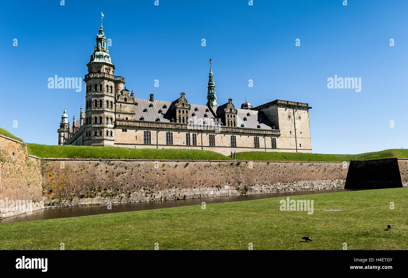 Kronborg Castle, residence of Hamlet, settled in a town Helsingor, north of Copenhagen, Denmark - Stock Image