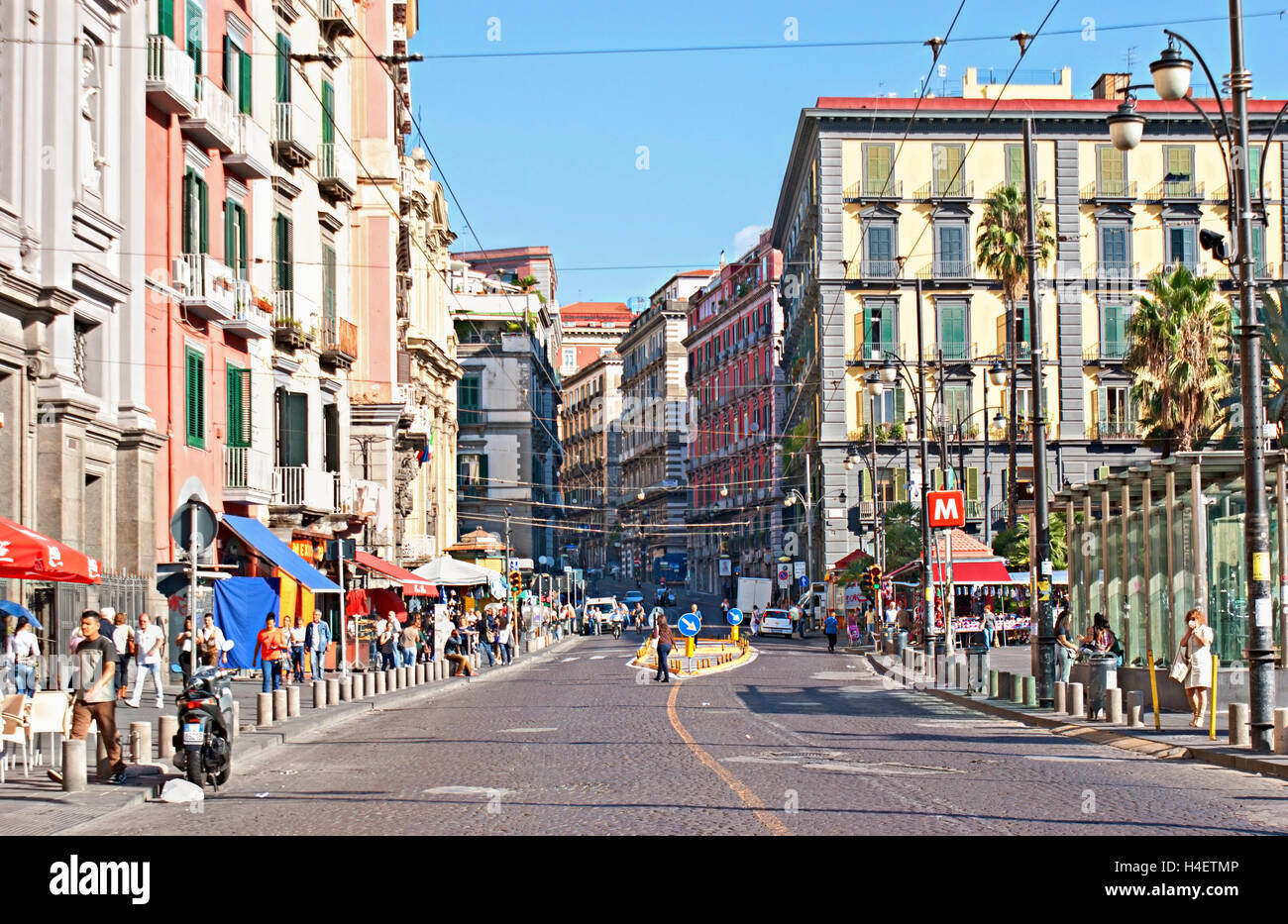 The medieval tourist Via Toledo with many street cafes and shops is very popular for promenades and shopping, Naples - Stock Image