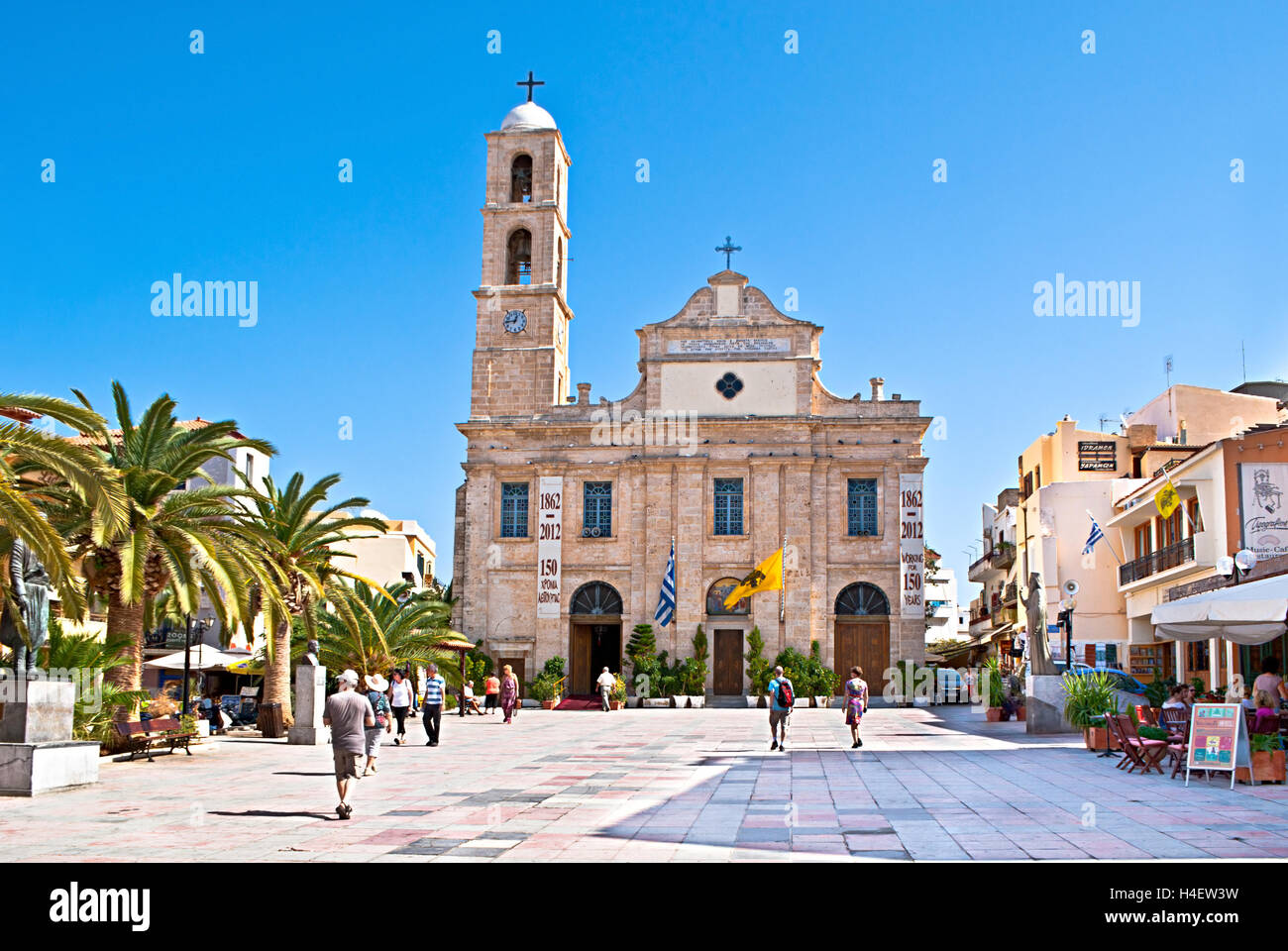 The Greek Orthodox Cathedral is located on Plateia Mitropoleos Square and called Church of Trimatyri, Chania Crete Stock Photo