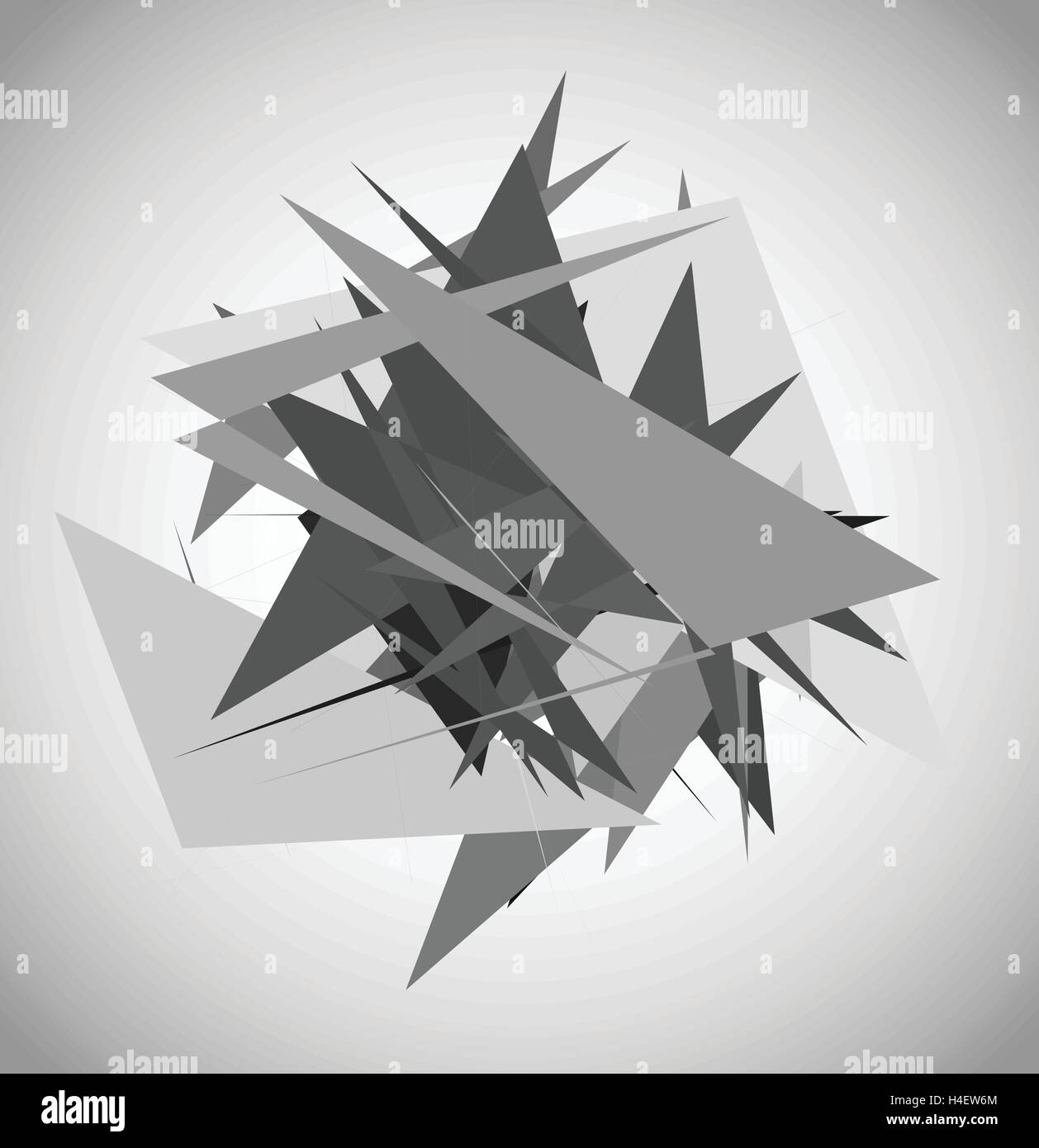 Abstract geometric art with random, unsettled edgy shapes - Stock Vector