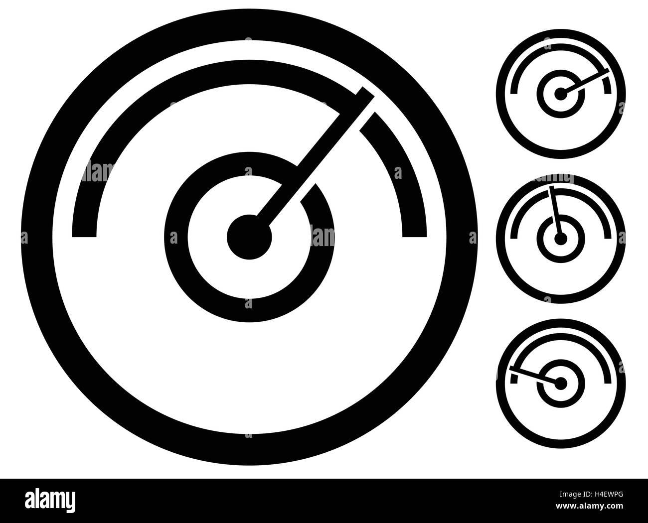 gauge meter symbol, icon at 4 stages. pressure gauge, odometer Stock ...
