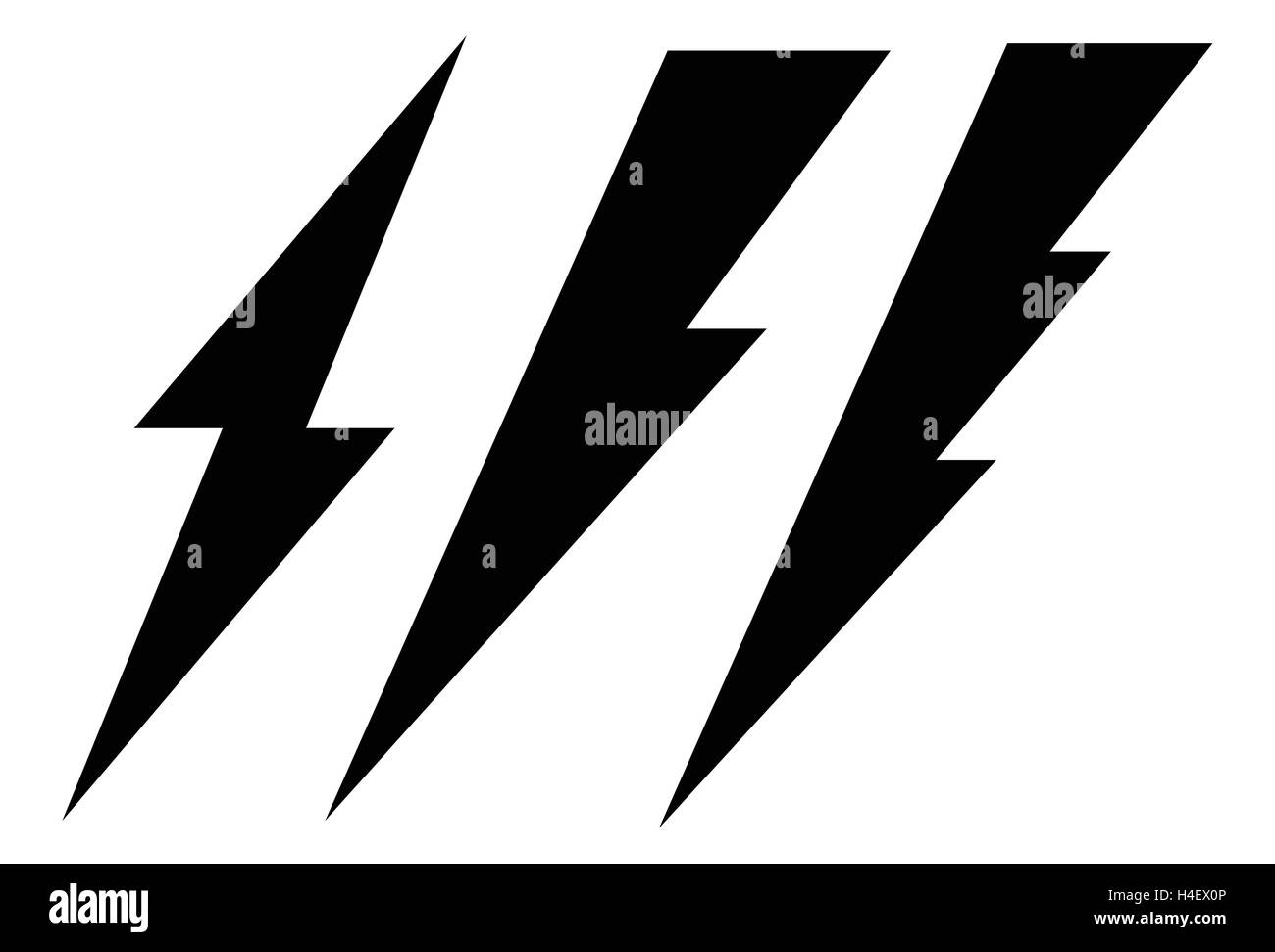 Set of 3 lighting bolt, spark icon. Electricity signs Stock Vector ...