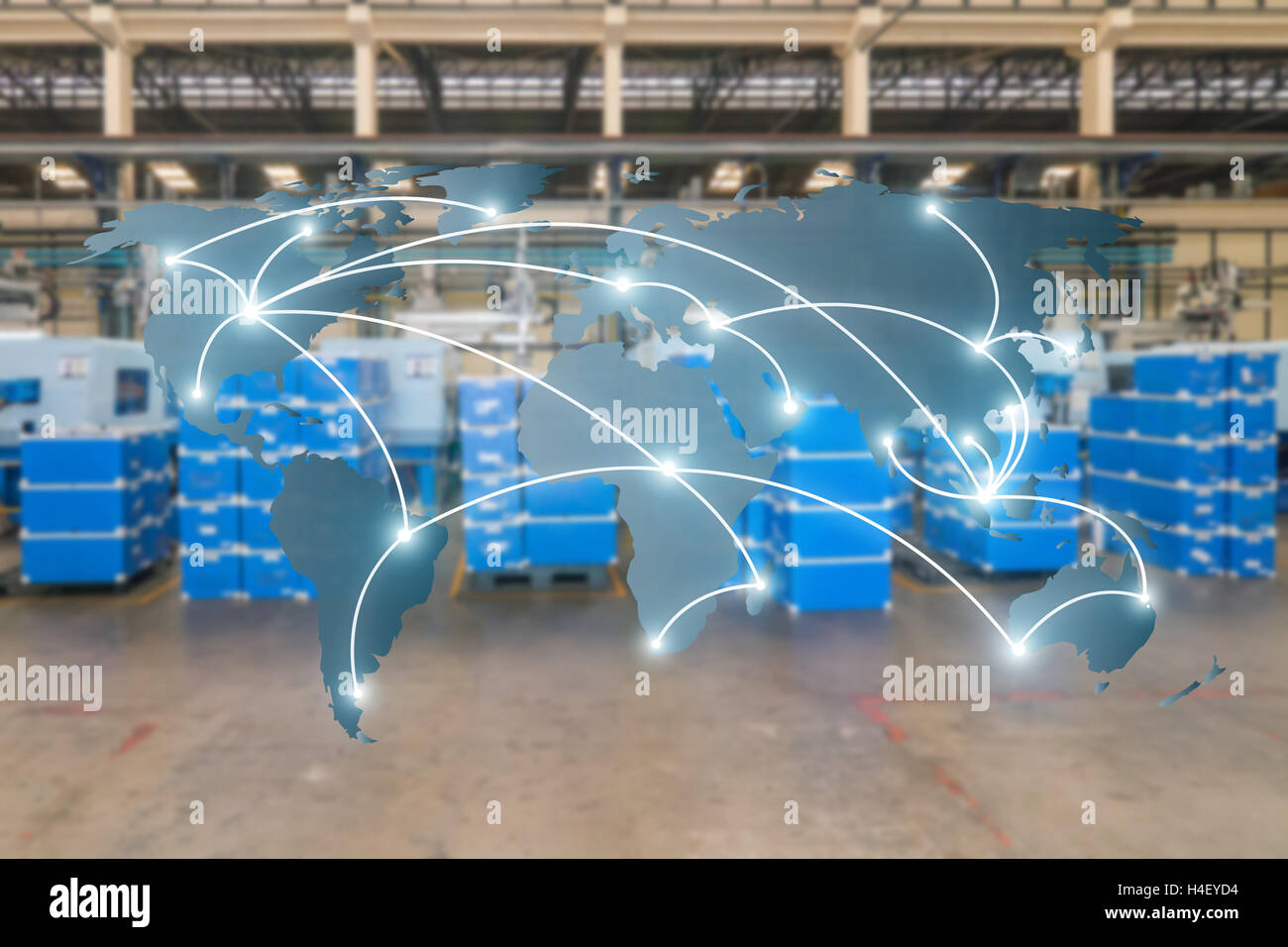 World international map connection connect network with blurred distribution logistic cargo warehouse background, - Stock Image