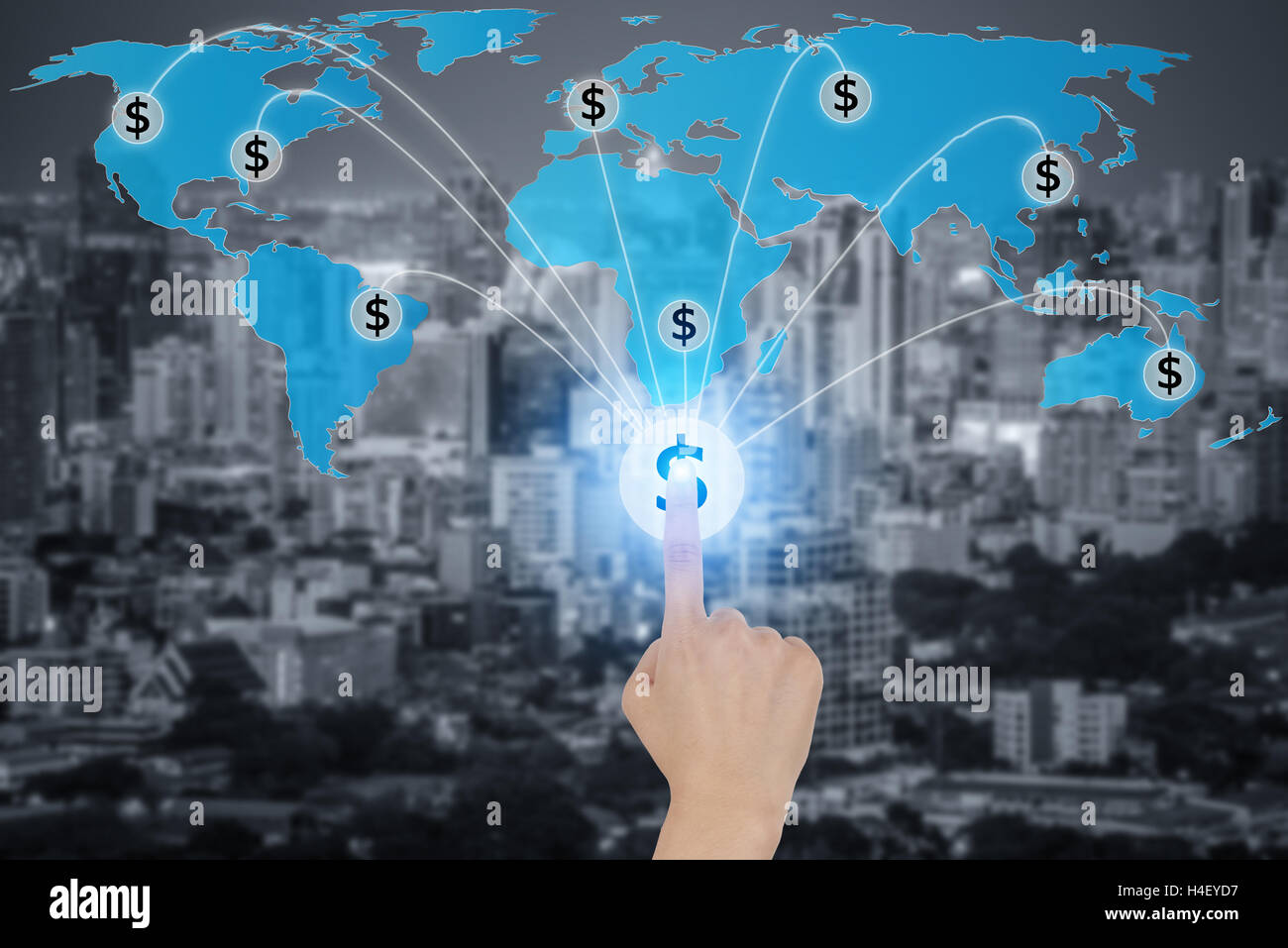 Touching button with dollar currency symbols connected in network, concept about global finance connection network. - Stock Image