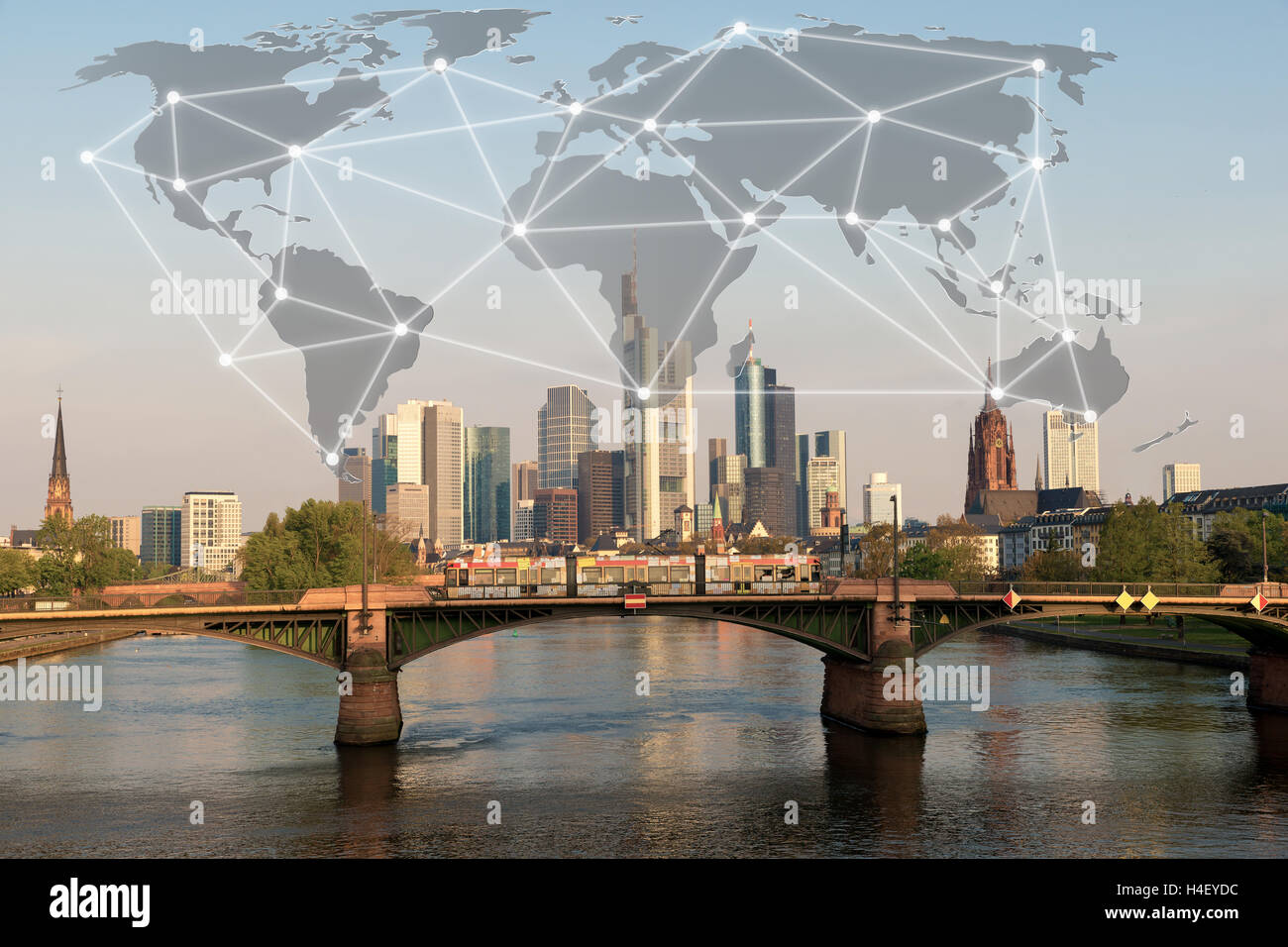 Network connection partnership with Frankfurt city. Business globalization network connection technology concept - Stock Image