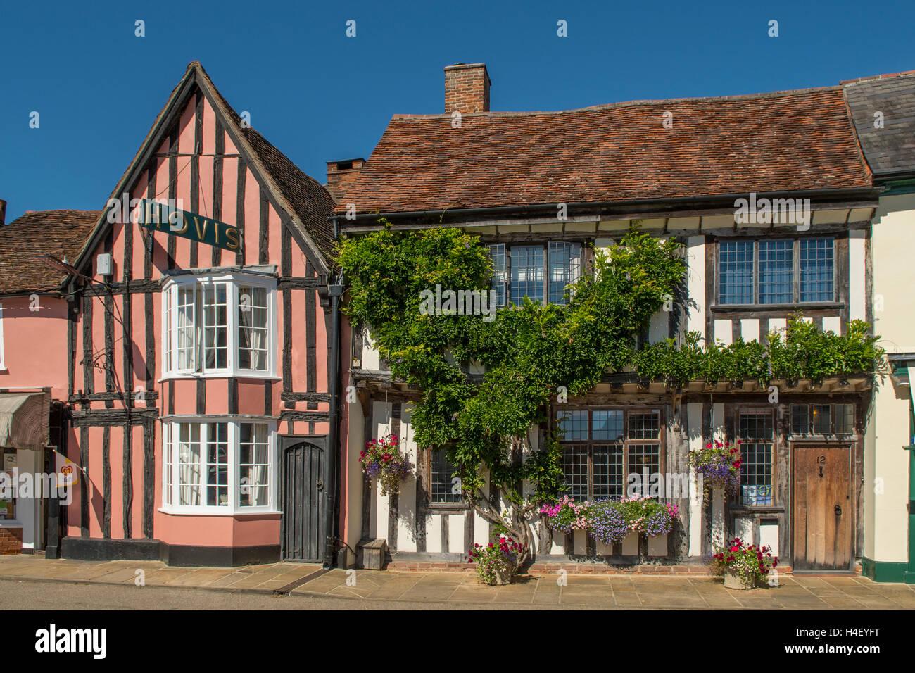 Tudor Buildings, Lavenham, Suffolk, England - Stock Image