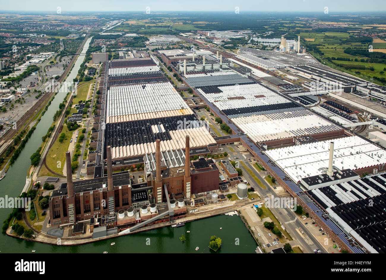 Aerial view, Volkswagen factory with heating plant VW Südstraße, Lower Saxony, Germany Stock Photo