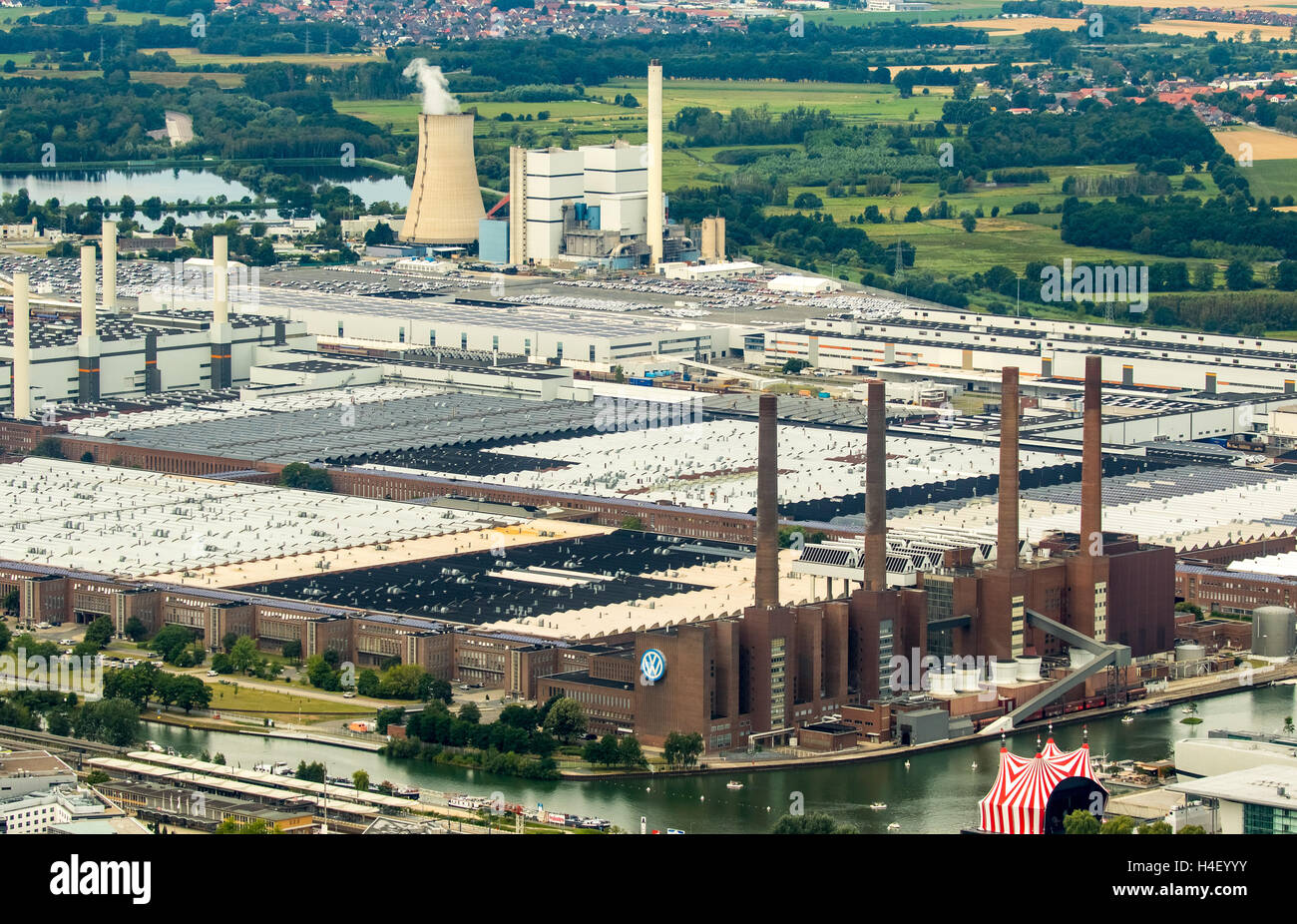 Aerial view, Volkswagen factory with heating plant VW Südstraße, Lower Saxony, Germany - Stock Image