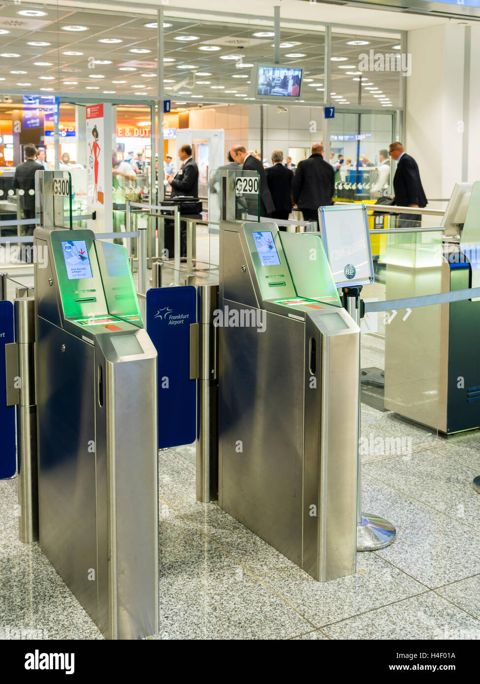 Admission gates in the departure area at the airport, Frankfurt, Hesse, Germany - Stock Image
