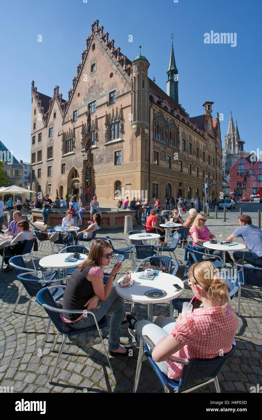 Ice cream parlor, coffee shop in front of the city hall, Market Square, Ulm, Baden-Wuerttemberg Stock Photo