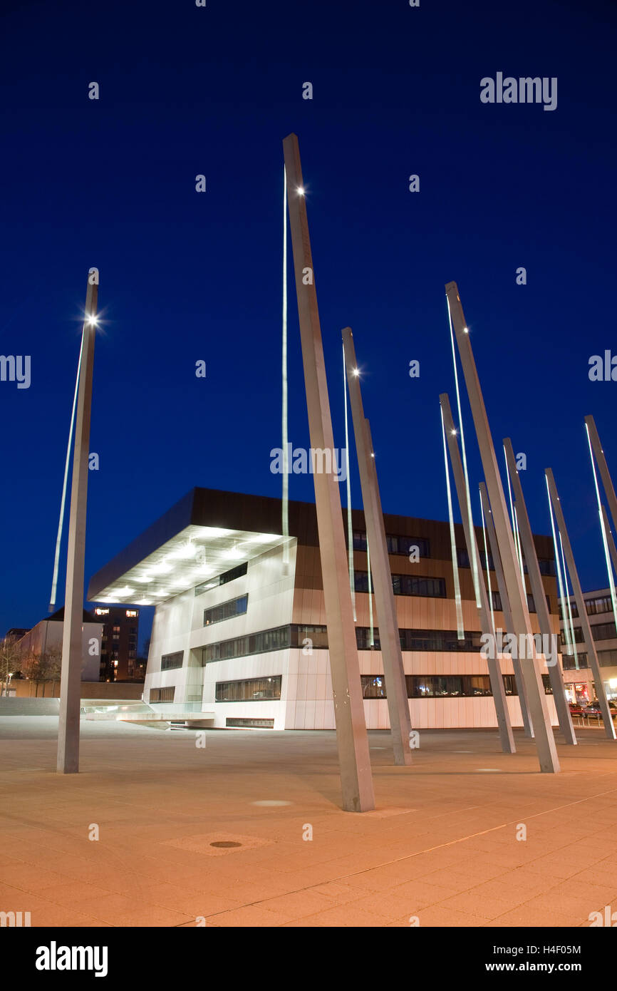 Stadthaus building at night, municipal multi-function building, town hall, adult education centre - Stock Image