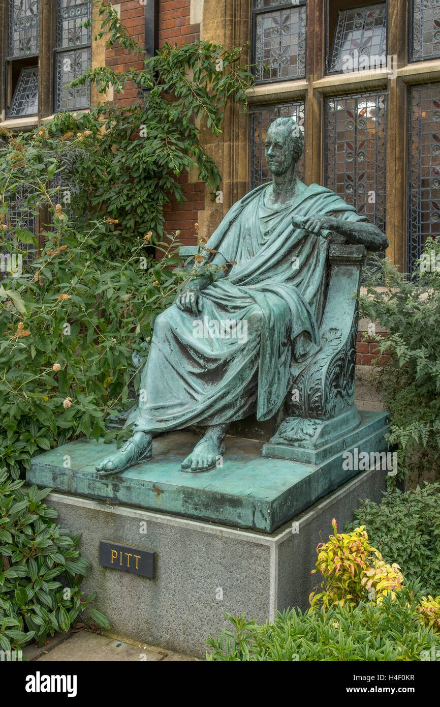 Statue of William Pitt the Younger in Pembroke College, Cambridge, Cambridgeshire, England - Stock Image