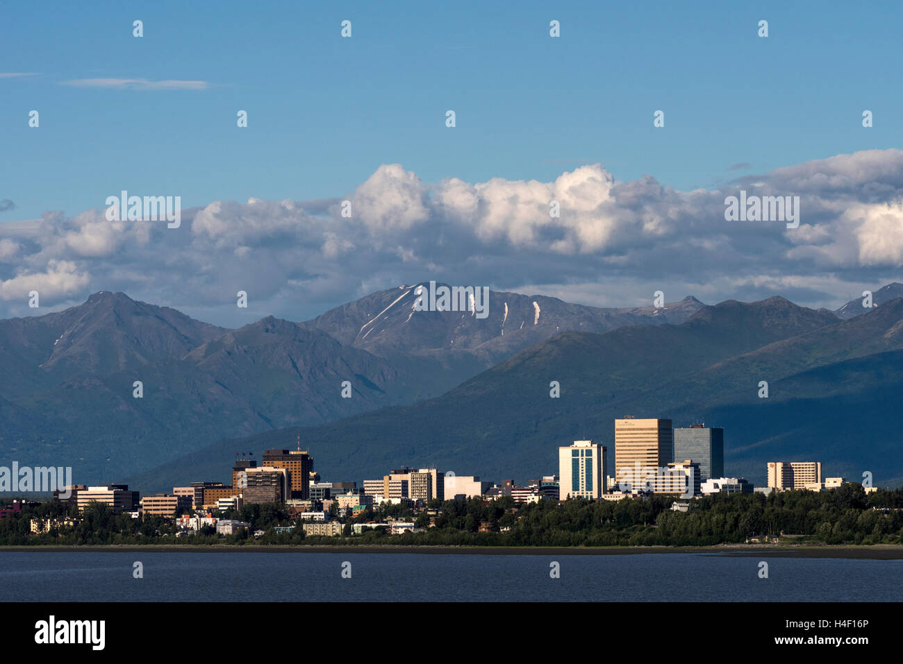 Panoramic view of Anchorage, Alaska - Stock Image