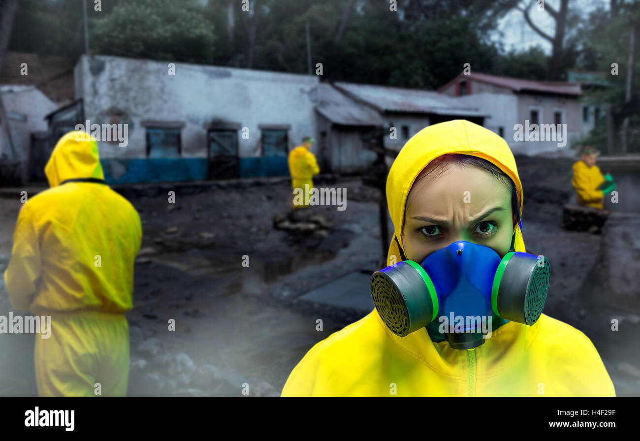 Woman in protective suit - Stock Image