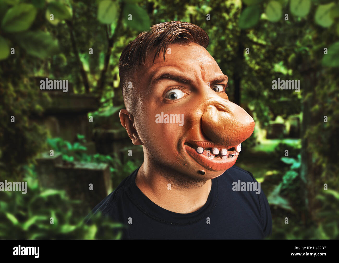 Man with an ugly face - Stock Image