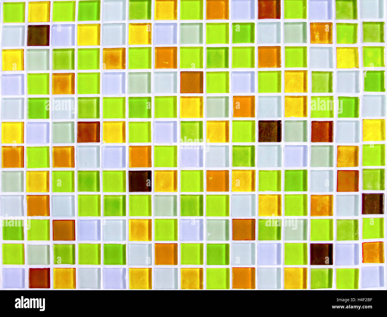 mosaic wall tile green yellow tone color closeup Stock Photo ...