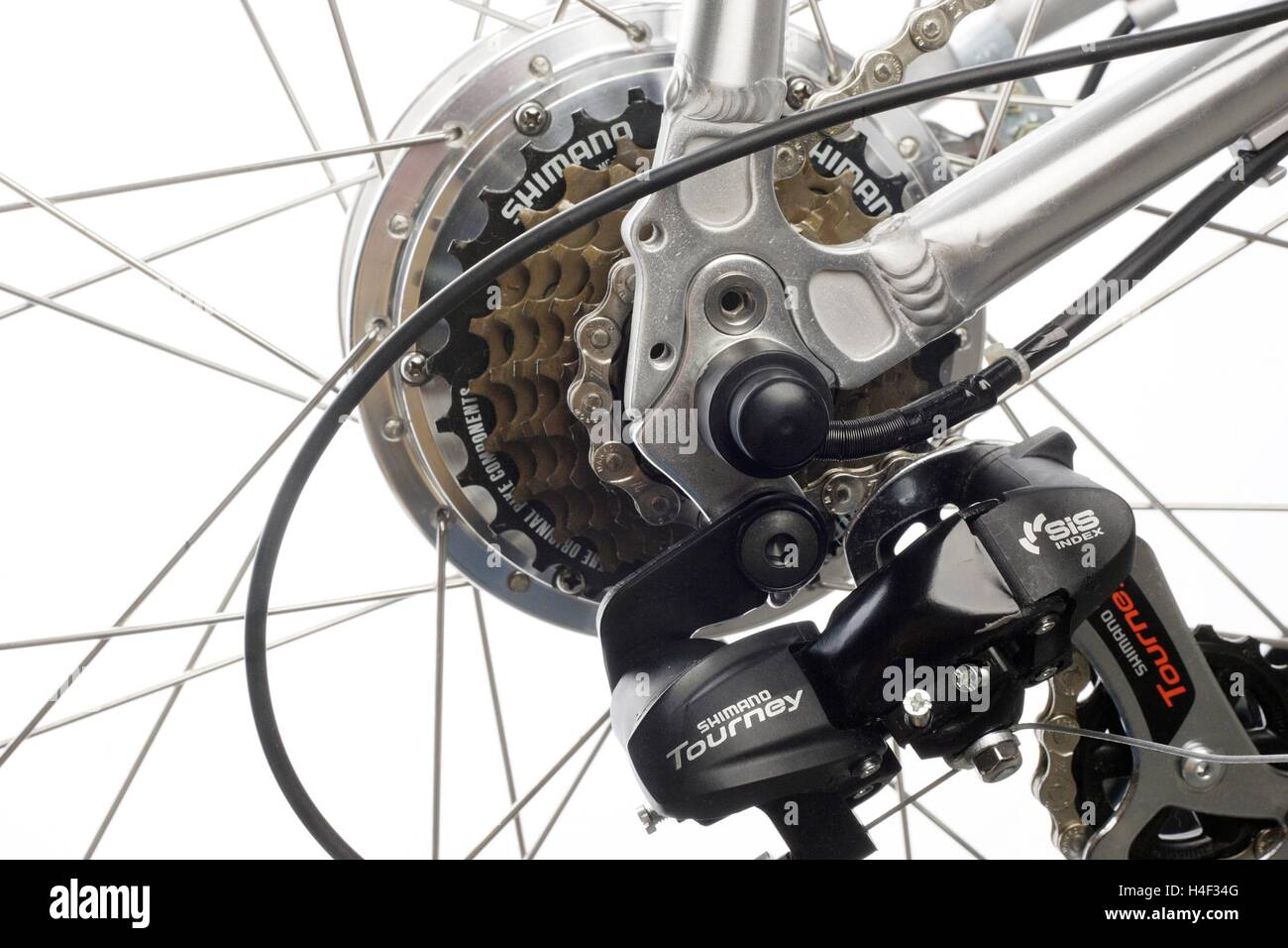 derailleur gears on a  bicycle, clean white background - Stock Image