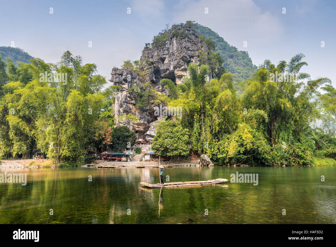 The limestones hill at vicinity of the Banyan Tree Park at Chuanyan Village, Yangshuo County - Stock Image