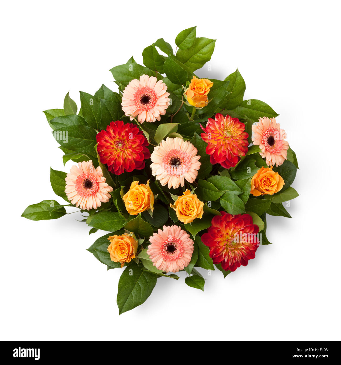 Bouquet With Autumn Flowers On White Background Stock Photo