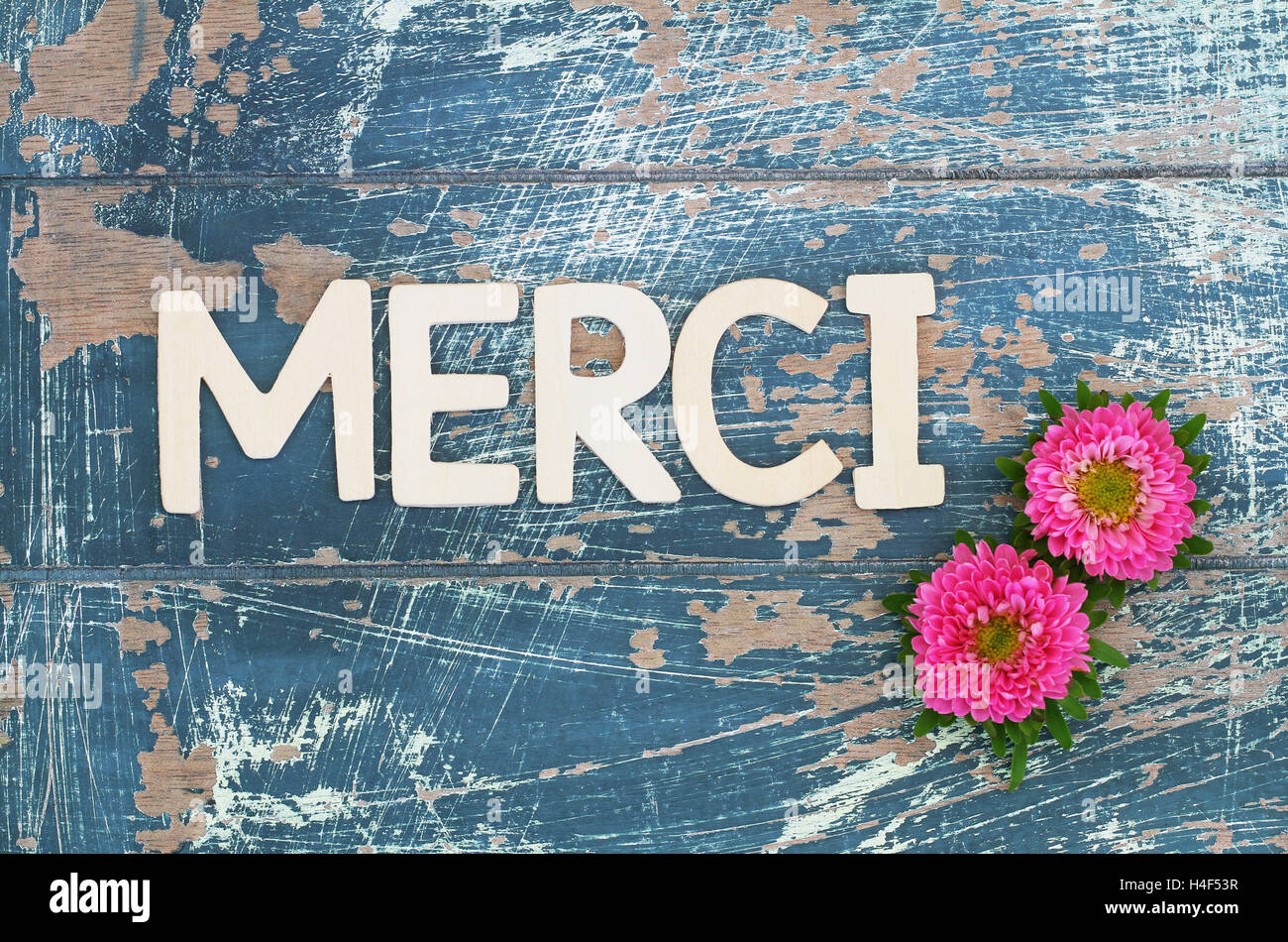 Merci Thank You In French Written With Wooden Letters And Pink Stock Photo Alamy