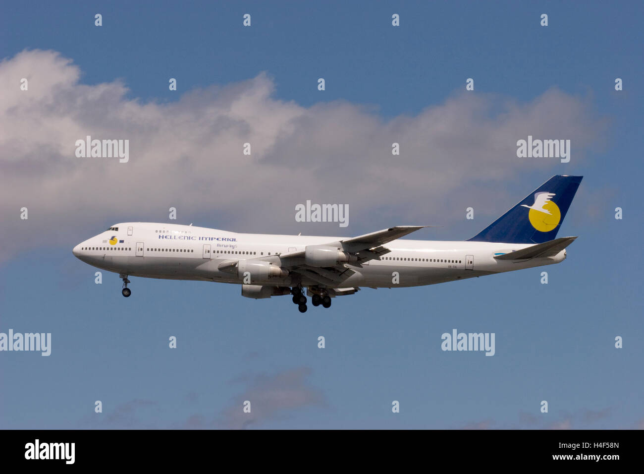 Hellenic Imperial Airways Boeing 747-281B landing at London Gatwick airport. - Stock Image
