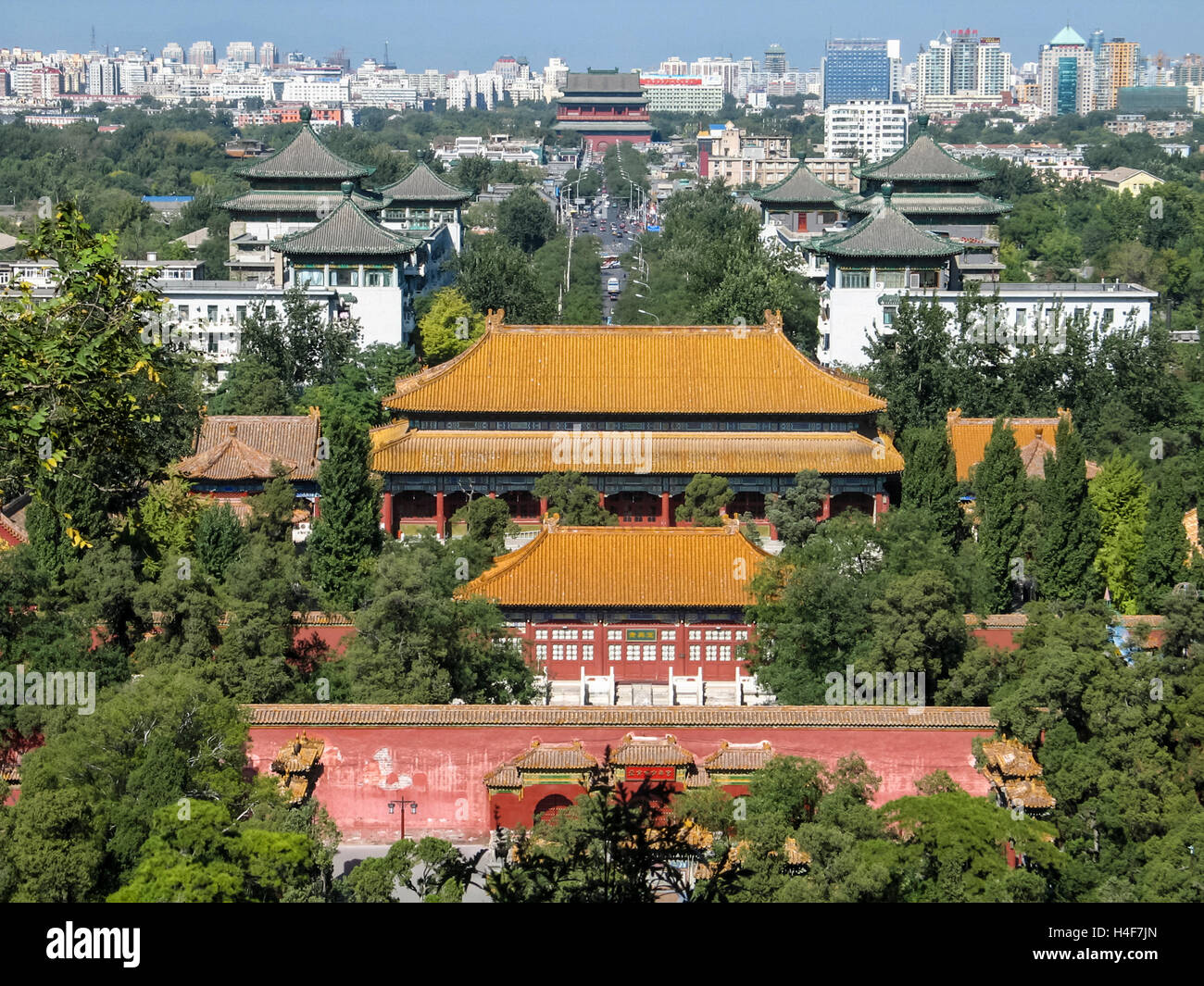 View from tower in Jingshan Park, Beijing, China, Asia - Stock Image