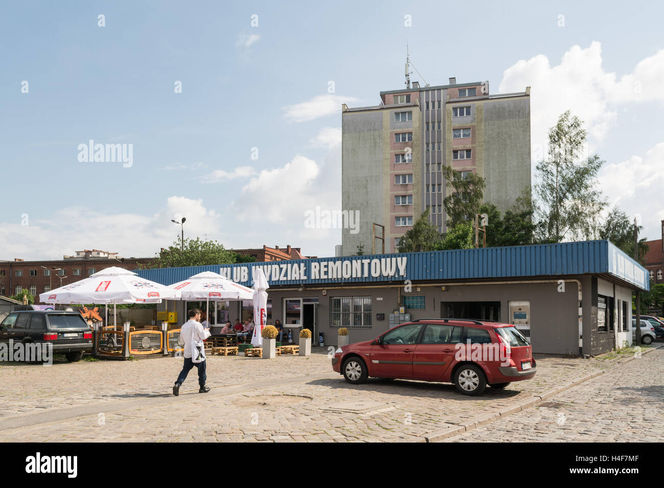 Wydzial Remontowy pub club concert venue just in front of the historic gate 2 at the Gdansk Shipyard, Gdansk, Poland - Stock Image