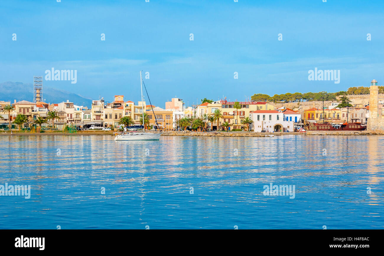 The best way to discover Rethymno and coastal villages of Crete is to take a yacht and enjoy the picturesque trip, Stock Photo
