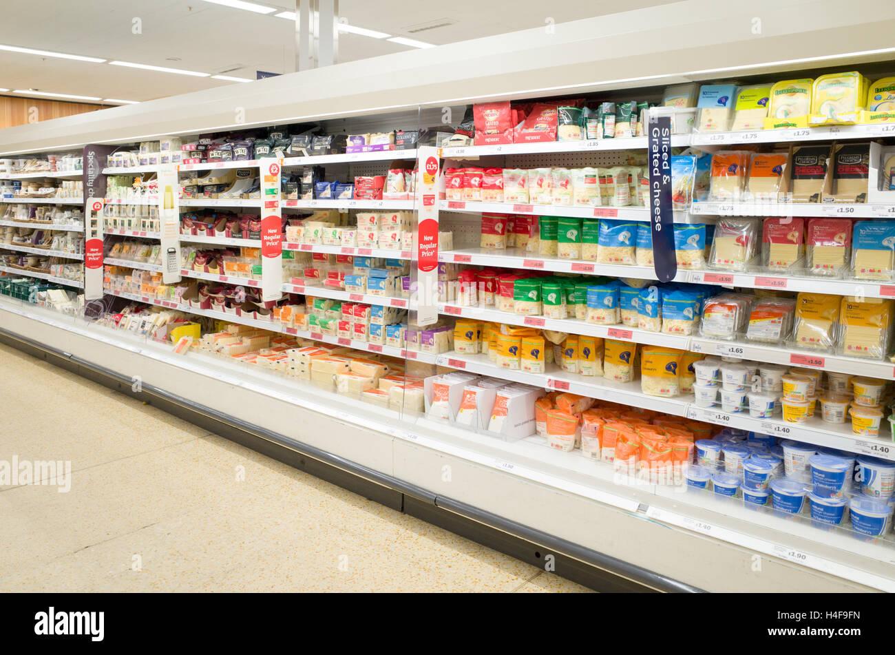Sainsbury's supermarket fridge, England, UK - Stock Image
