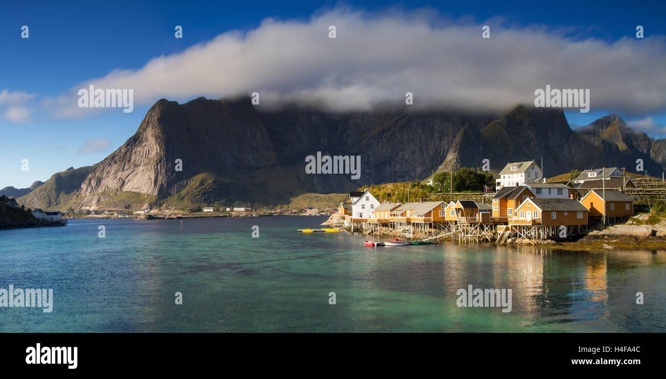 Panorama of the fishing village Sakrisoy, Lofoten, Norway Stock Photo